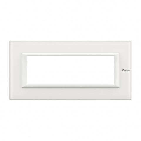 стъклена шестмодулна рамка, white glass, bticino, axolute, ha4806vbb