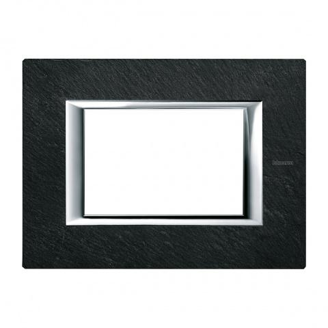 каменна тримодулна рамка, slate, bticino, axolute, ha4803rlv