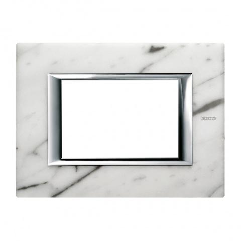 каменна тримодулна рамка, carrara marble, bticino, axolute, ha4803rmc