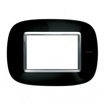 метална тримодулна рамка, solid black, bticino, axolute, hb4803nr