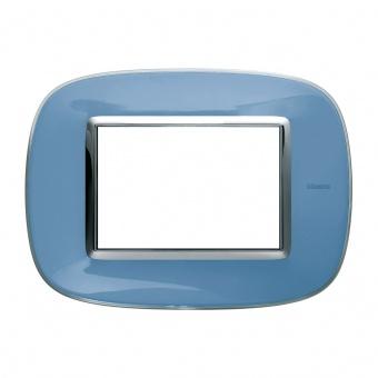 pvc тримодулна рамка, liquid blue, bticino, axolute, hb4803dz