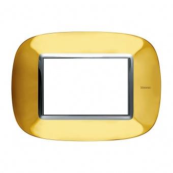pvc тримодулна рамка, shiny gold, bticino, axolute, hb4803or