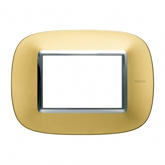 метална тримодулна рамка, gold mat, bticino, axolute, hb4803osn