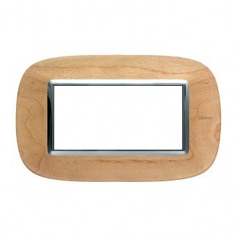 дървена четиримодулна рамка, maple, bticino, axolute, hb4804lae