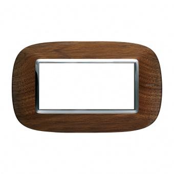 дървена четиримодулна рамка, walnut, bticino, axolute, hb4804lnc