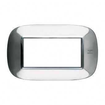 метална четиримодулна рамка, shiny alessi stainless steel , bticino, axolute, hb4804axl