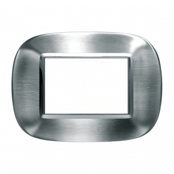 метална тримодулна рамка, brushed alessi stainless steel, bticino, axolute, hb4803axs