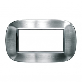 метална четиримодулна рамка, brushed alessi stainless steel, bticino, axolute, hb4804axs