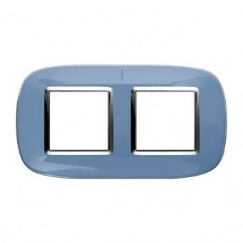 pvc двойна рамка, liquid blue, bticino, axolute, hb4802/2dz