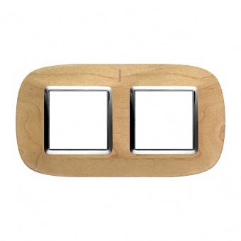 дървена двойна рамка, maple, bticino, axolute, hb4802/2lae