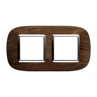 дървена двойна рамка, walnut, bticino, axolute, hb4802/2lnc