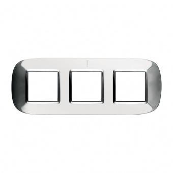 метална тройна рамка, axolute shiny steel, bticino, axolute, hb4802/3acl