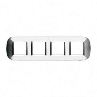 метална  четворна рамка, axolute shiny steel, bticino, axolute, hb4802/4acl