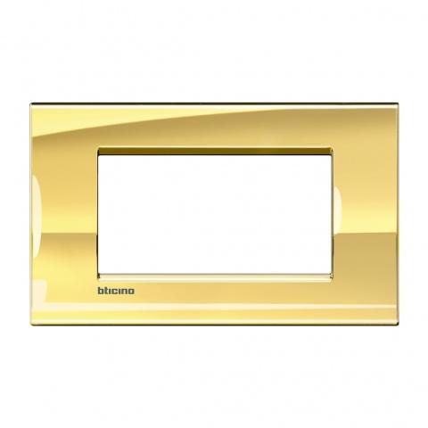 метална четиримодулна рамка, ice gold, bticino, livinglight, lna4804оa