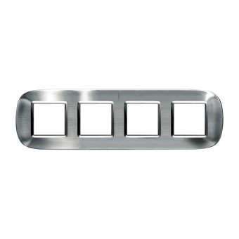 метална четворна рамка, brushed steel, bticino, axolute, hb4802/4acs