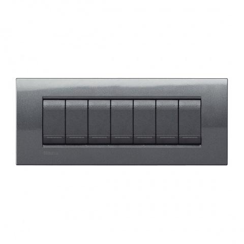 метална седеммодулна рамка, steel, bticino, livinglight, lna4807ac