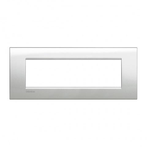 метална седеммодулна рамка, moolight silver, bticino, livinglight, lna4807gl