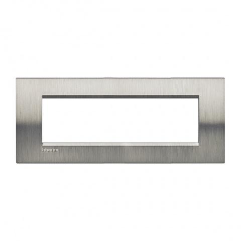 метална седеммодулна рамка, brushed steel, bticino, livinglight, lna4807acs