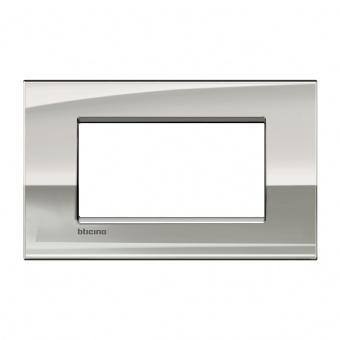 метална четиримодулна рамка, palladium, bticino, livinglight air, lnc4804pl