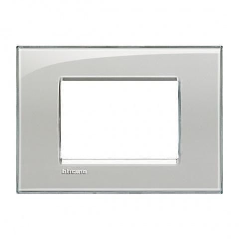 pvс тримодулна рамка, cold grey, bticino, livinglight, lna4803kg