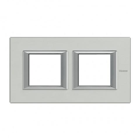 рамка двойна , brushed aluminium, bticino, axolute, ha4802m2hxc