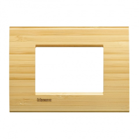 дървена тримодулна рамка, bamboo,  bticino, livinglight, lna4803lba