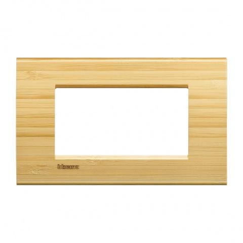 дървена четиримодулна рамка, bamboo,  bticino, livinglight, lna4804lba