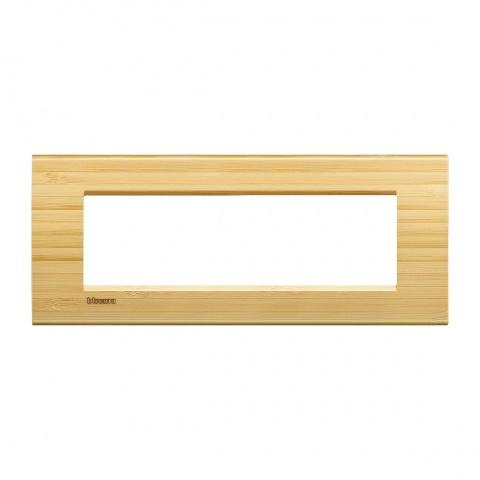 дървена седеммодулна рамка, bamboo,  bticino, livinglight, lna4807lba