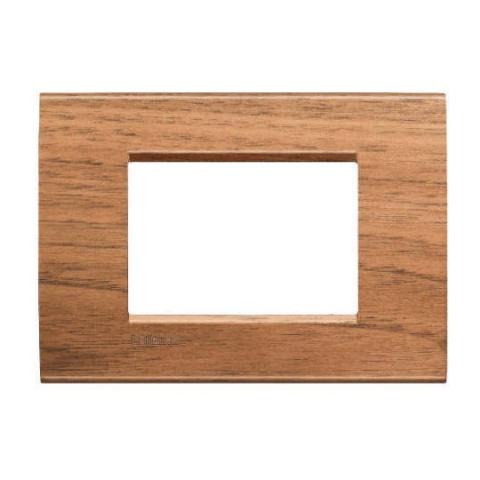 дървена тримодулна рамка, walnut, bticino, livinglight, lna4803lnc