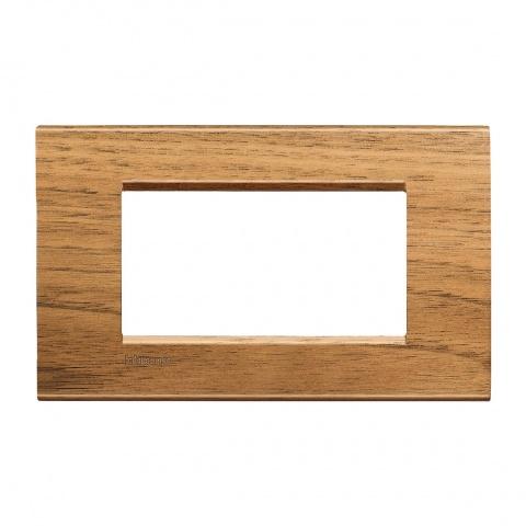 дървена четиримодулна рамка, walnut, bticino, livinglight, lna4804lnc