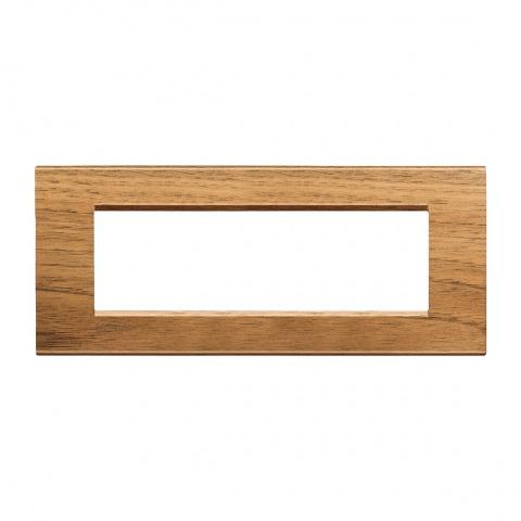 дървена седеммодулна рамка, walnut, bticino, livinglight, lna4807lnc