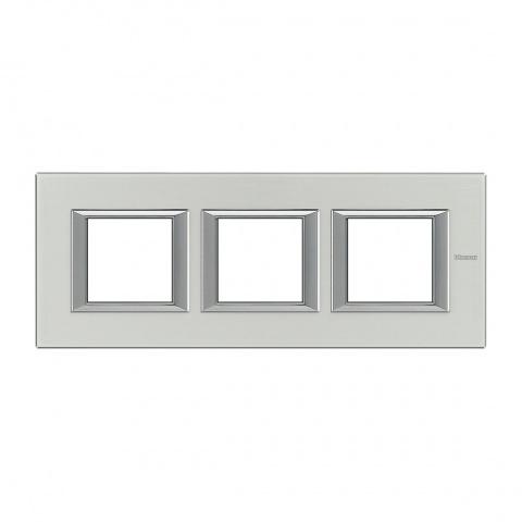 рамка тройна, brushed aluminium, bticino, axolute, ha4802m3hxc