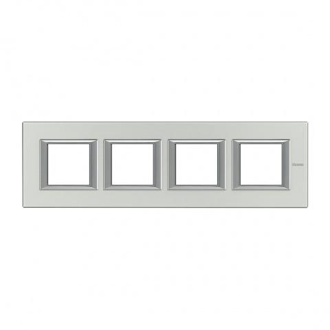 рамка четворна, brushed aluminium, bticino, axolute, ha4802m4hxc