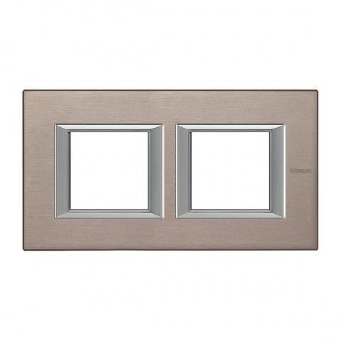 рамка двойна, brushed titanium, bticino, axolute, ha4802m2hnx