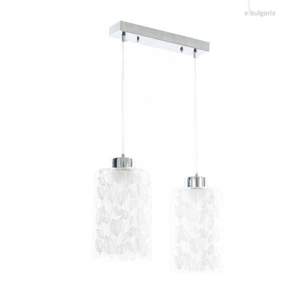 стъклен полилей, хром, elbulgaria, 2x40w, 1183/2