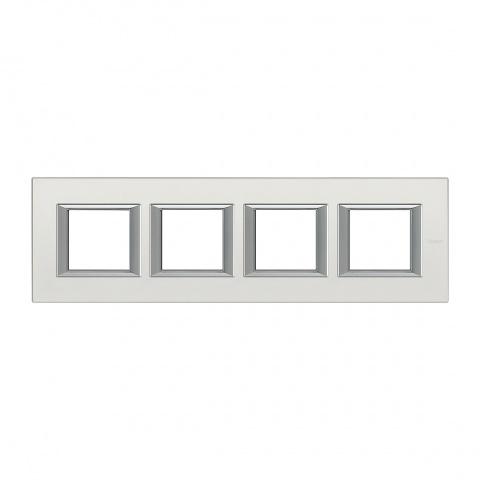 метална четворна рамка, silver mat, bticino, axolute, ha4802m4hsan