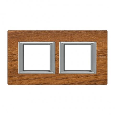 дървена двойна рамка, teak, bticino, axolute, ha4802m2hltk