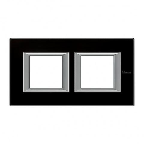стъклена двойна рамка, black glass, bticino, axolute, ha4802m2hvnn