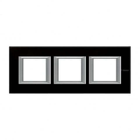 стъклена тройна рамка, black glass, bticino, axolute, ha4802m3hvnn