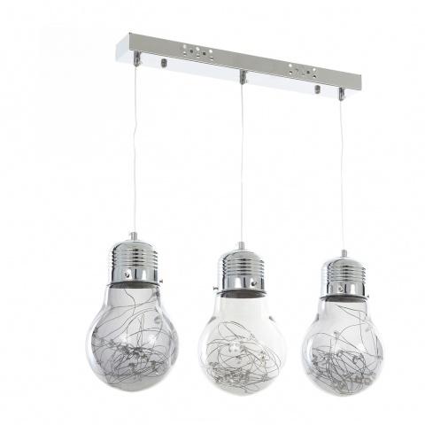 стъклен полилей, хром, elbulgaria, led 3x5w 4000k, 1118/3 ch