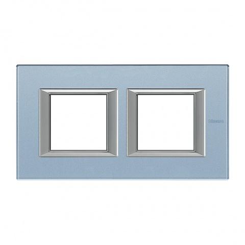 стъклена двойна рамка, blue glass, bticino, axolute, ha4802m2hvzs