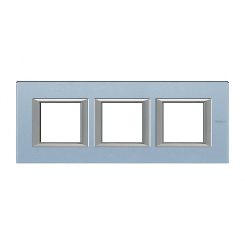стъклена тройна рамка, blue glass, bticino, axolute, ha4802m3hvzs