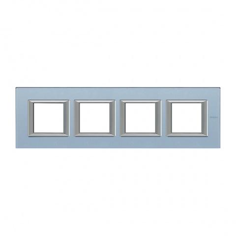 стъклена четворна рамка, blue glass, bticino, axolute, ha4802m4hvzs