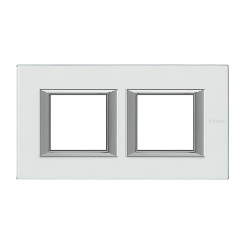стъклена двойна рамка, kristall glass, bticino, axolute, ha4802m2hvka