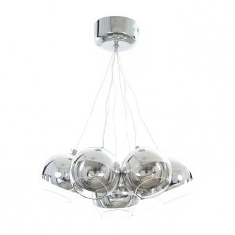стъклен полилей, хром, elbulgaria, led 7x3w, 4000k, 1117/7 ch