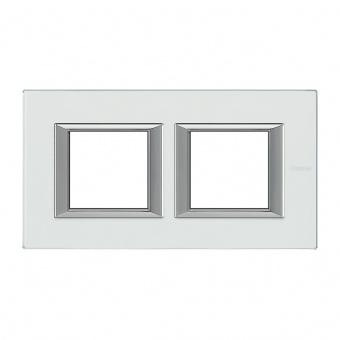 стъклена двойна рамка, mirror glass, bticino, axolute, ha4802m2hvsa