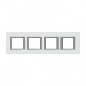 стъклена четворна рамка, mirror glass, bticino, axolute, ha4802m4hvsa