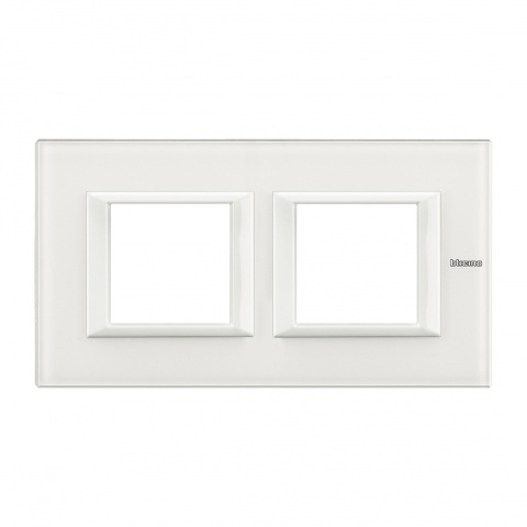 стъклена двойна рамка, white glass, bticino, axolute, ha4802m2hvbb