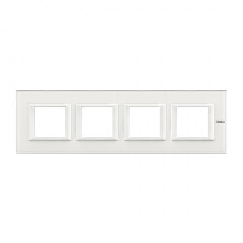 стъклена четворна рамка, white glass, bticino, axolute, ha4802m4hvbb