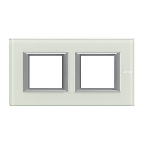 стъклена двойна рамка, whice, bticino, axolute, ha4802m2hvsw